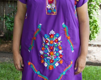 Purple Dress with Colorful Embroidery XL