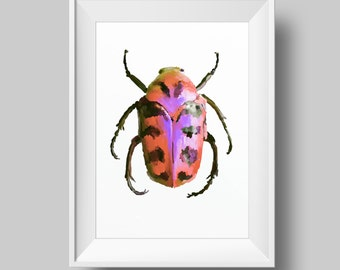 Red Beetle Art Printable Poster