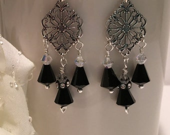 Earrings ~ Black & Silver ~ Swarovski Crystals ~ Sterling Silver ~ Wire Wrapped ~ Hand Made ~ Chandelier ~ Gift Boxed