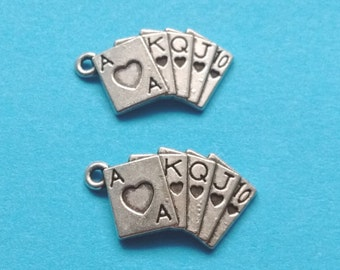 10 Playing Cards Charms Silver - CS2096