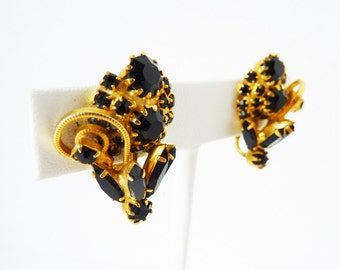 Vintage Black and Gold Rhinestone Earrings with Clip Backs from the 1940s