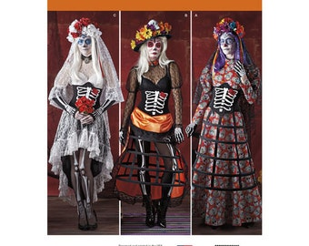 "Sewing Pattern for ""Day of the Dead"" Costumes for Misses, Simplicity Pattern 1033, Halloween Costume, Cosplay, Plus Size Avail, Sugar Skull"