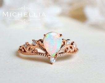 vintage pear opal engagement ring 14k 18k solid gold ethiopian fire opal teardrop ring - Opal Wedding Ring