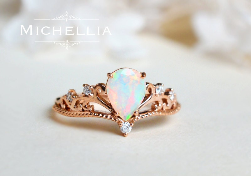opal pear engagement ring or ring set vintage pear crown ring