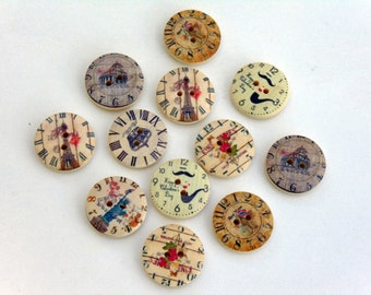 12 Clock Wooden Round Buttons #EB50