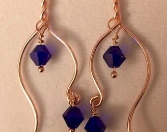 Gold and cobalt blue swarovski crystal earrings