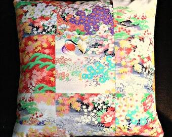Vintage Kimono Cushion Pillow Oriental Patchwork