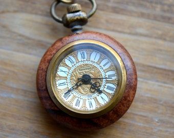 Mechanical Pocket Watch Necklace Wind-up 3-Pin Functional WORKING Clock Glass Face and Cherry Wood Casing Vintage Style Watch (BB049)