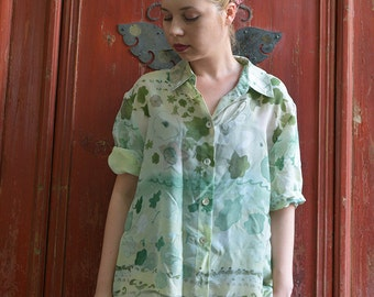 Vintage 90s oversized silky fabric shirt, green pastels print