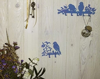 Birds Wall Hanger Key Bag Coat Rack Decor Wall Mounted Blue Hook Design SET OF 3