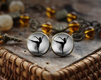 Ballerina silhouette Stud Earrings, Ballerina Earrings, Photo Ballerina jewelry, Black and White Ballet Dancer Earrings, Dancing Jewelry