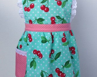 Vintage Inspired Handmade Kid's Apron Cherries Jubilee