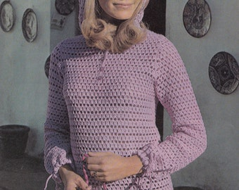 "1970s ""Magical Mauve"" DIY Beginner's CROCHET Tunic - Instant PDF Digital Download"