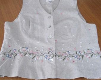 Talbots VEST, Linen, Embroidered Floral Design, Size: M