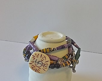 Paper Bead Necklace, Wrap Bracelet, Paper Jewelry