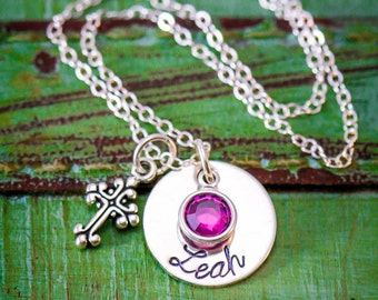 Custom Cross Necklace • Personalized Womens Baptism Gift for Her Stocking Stuffer Cross Jewelry Birthstone Necklace Gift Cross Charm Silver