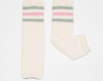 Girls merino wool handknit legwarmers, ivory with pink and grey stripes, FARRAH LEGWARMERS - dance, ballet
