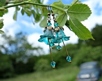 Flower Earrings - Teal Earrings - Floral Earrings - Aqua Earrings - Blue Green Jewelry - Bronze Earrings - Dangle Drop Earrings - Woodland.