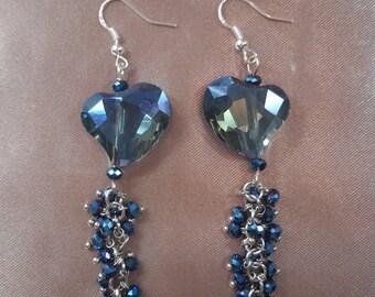 Beautiful heart crystal cut blue dangel earrings