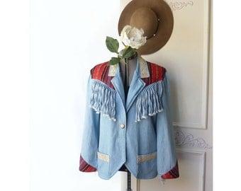 VIntage Jean Jacket, Denim fringe, southwest applique, size medium, country chic, artsy, cowgirl, prairie, farm girl, vintage lace, blazer