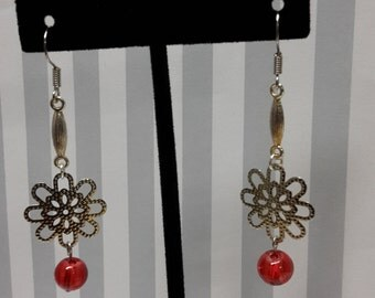 Silver & Red Drop Earrings