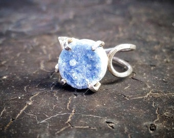 Druzy Ring Blue Drusy Ring Blue Stone Drusy Crystal Ring Druzy Crystal Ring Blue Crystal Ring Blue Druzy Blue Drusy Bohemian Druzy Ring