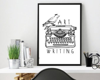 Writing Machine, Writing, Writing Print, Writing Art, Writing Accessories, Room Wall Art, Vintage, Writing Poster, Gifts for writers, Gift