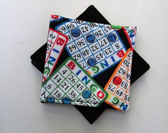Bingo Game Coaster Set, Cotton Fabric Coaster Set of Two, Family Game Night