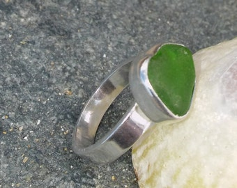 Cornish Sea glass ring, Green Sea glass ring, White Sea glass ring, Sea glass, Silver ring, Sea glass Engagement ring, Birthday gift.