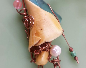 Sea Glass, Shell, Pearl, Tourmaline, Collage, Handmade, OOAK, Necklace