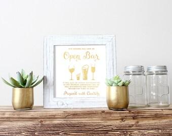 Open Bar Wedding Sign, Open Bar Sign, Drunken Shenanigans Wedding Sign, Gold Foil Wedding Sign, Wedding Bar Sign, Wedding Open Bar Sign