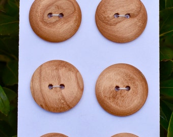 Cherry Wood Buttons, set of 6