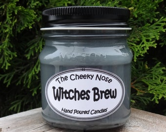 Witches Brew Candle, Patchouli Candle, Halloween Candle, Scented Candle, Soy Candle, Fall Candle, Gray Candle, Witch Candle, Grey Candle