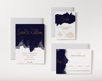 No. 10 | Printable 5 x 7 Wedding Invitation | 5 x 3.5 RSVP | 5 x 3.5 Details Card