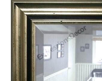 Custom Lumna Silver & Black Wall Mirror - Beveled Glass - FREE SHIPPING