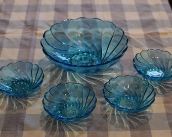 Vintage Berry Bowl Set, Hazel Atlas Swirl Aqua Blue