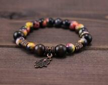 Hamsa beaded bracelet agate and Cat's Eye . Evil eye amulet Yoga bracelet Energy Bracelet Protection bracelet Chakra bracelet Jewelry unisex