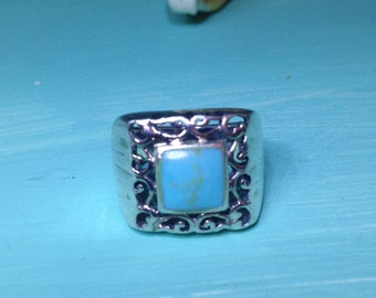 vintage sterling silver filligree scrolls turquoise ring -hallmarked