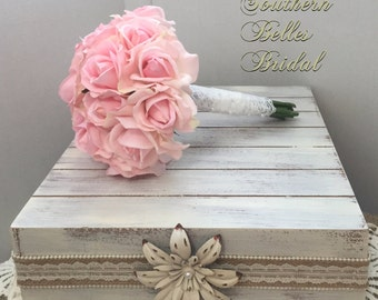 Pink/Blush Rose Wedding Bouquet with Real Touch Roses