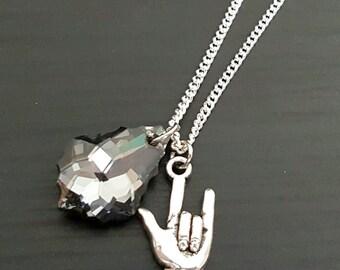 Baroque Swarovski Crystal & Metal Horns Sterling Silver Necklace