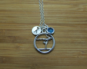 Gymnast Necklace, Personalized Hand stamped Initial Necklace, Birthstone Necklace, Gymnastics Lover Gift