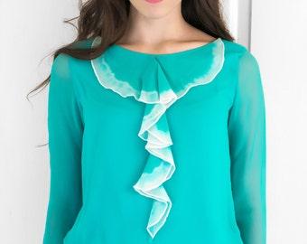 Teal Dip Dyed Ruffle Shirt