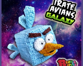 "Galactic Frosty ""Irate Avian"" stuffed plush crochet toy"