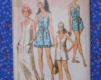 Dress and Swim Pantdress Sewing Pattern, Simplicity 8837, Uncut, 1970s, size 18.5, half size, bust 41