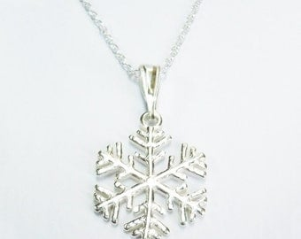 Sterling Silver Snowflake Pendant Chain Necklace - snowflake charm necklace - gift for her - present birthday christmas wedding