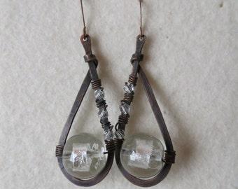 Drop of light ... handmade copper earrings