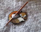 Shawl Pin Inlaid Shell Fox Shawl Pin, Fox Abalone Shell Shawl Pin, Exotic Shell Sweater and Shawl Closure