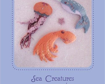 Mini Felt Sea Creatures plush set 1 PDF sewing pattern felt animal patterns ornaments