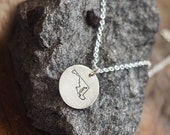 Hand Stamped State Necklace in Sterling Silver