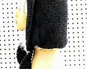 Black Knitted Hat Womens Hat Trendy, Knit Black Hat, Oversized Knitting, DESERT Knit Hood